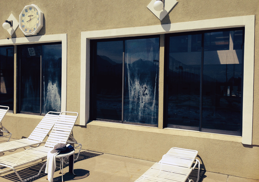 pool house with foggy windows